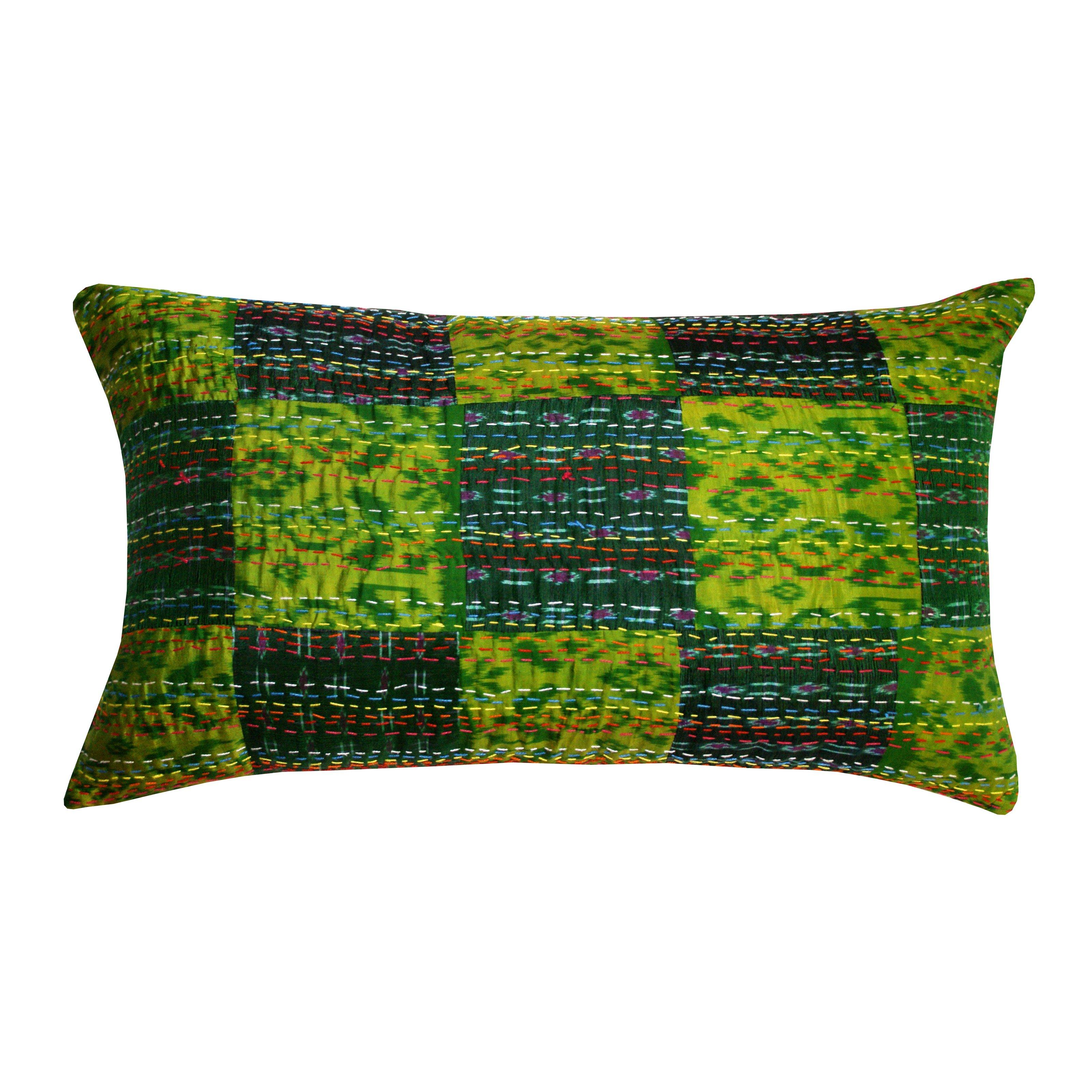 Divine Designs Payal Kantha Lumbar Decorative Throw Pillow