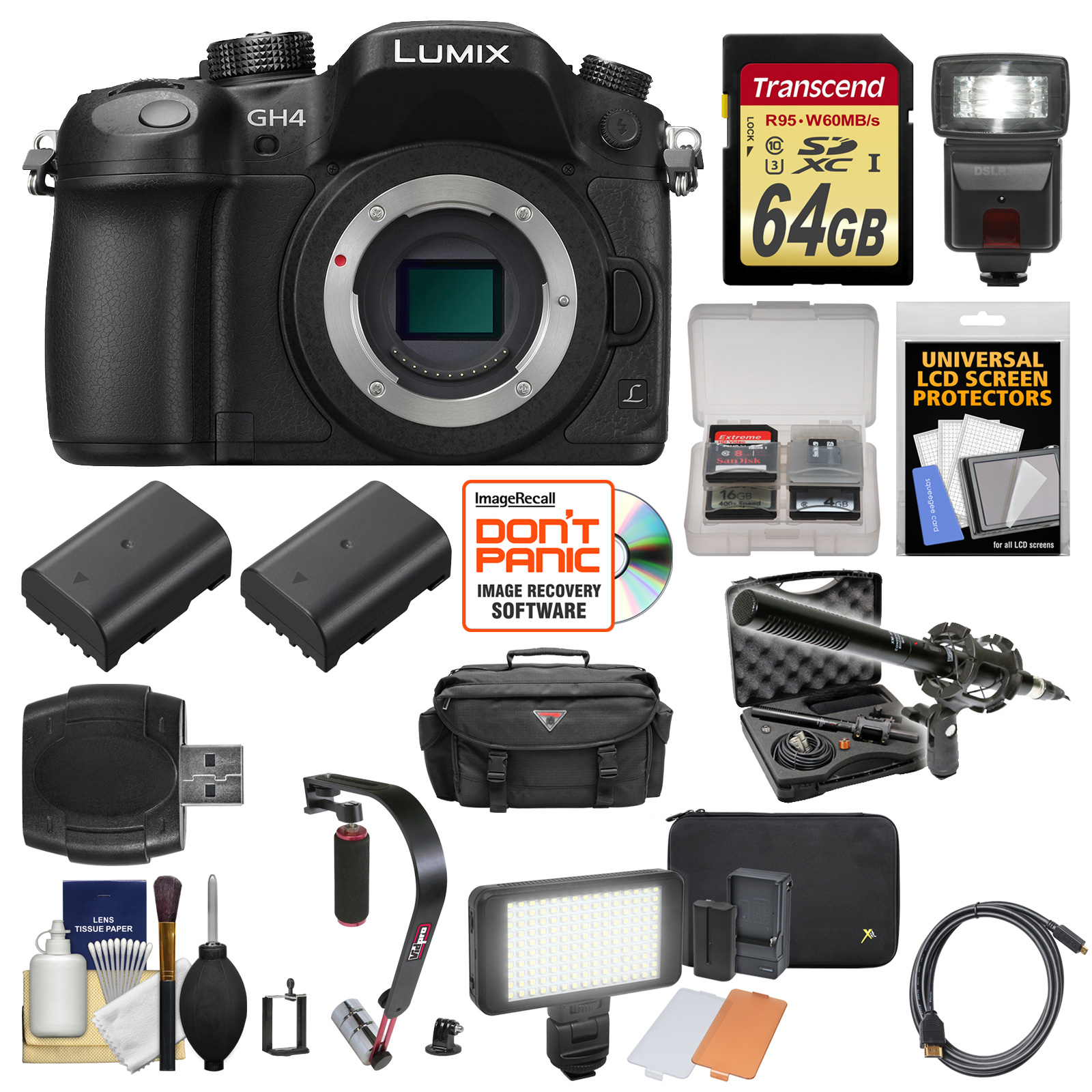 Panasonic Lumix DMC-GH4 4K Micro Four Thirds Digital Camera Body with 64GB Card + Case + Flash + 2 Batteries +... by Panasonic