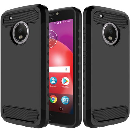 Black Premium Silicone Cover - Moto E4 Plus Case, Dual Layer Shockproof Silicone Phone Protection Case TPU Hybrid Slim Fit Cover With [Premium Screen Protector] And Touch Screen Pen (Black)