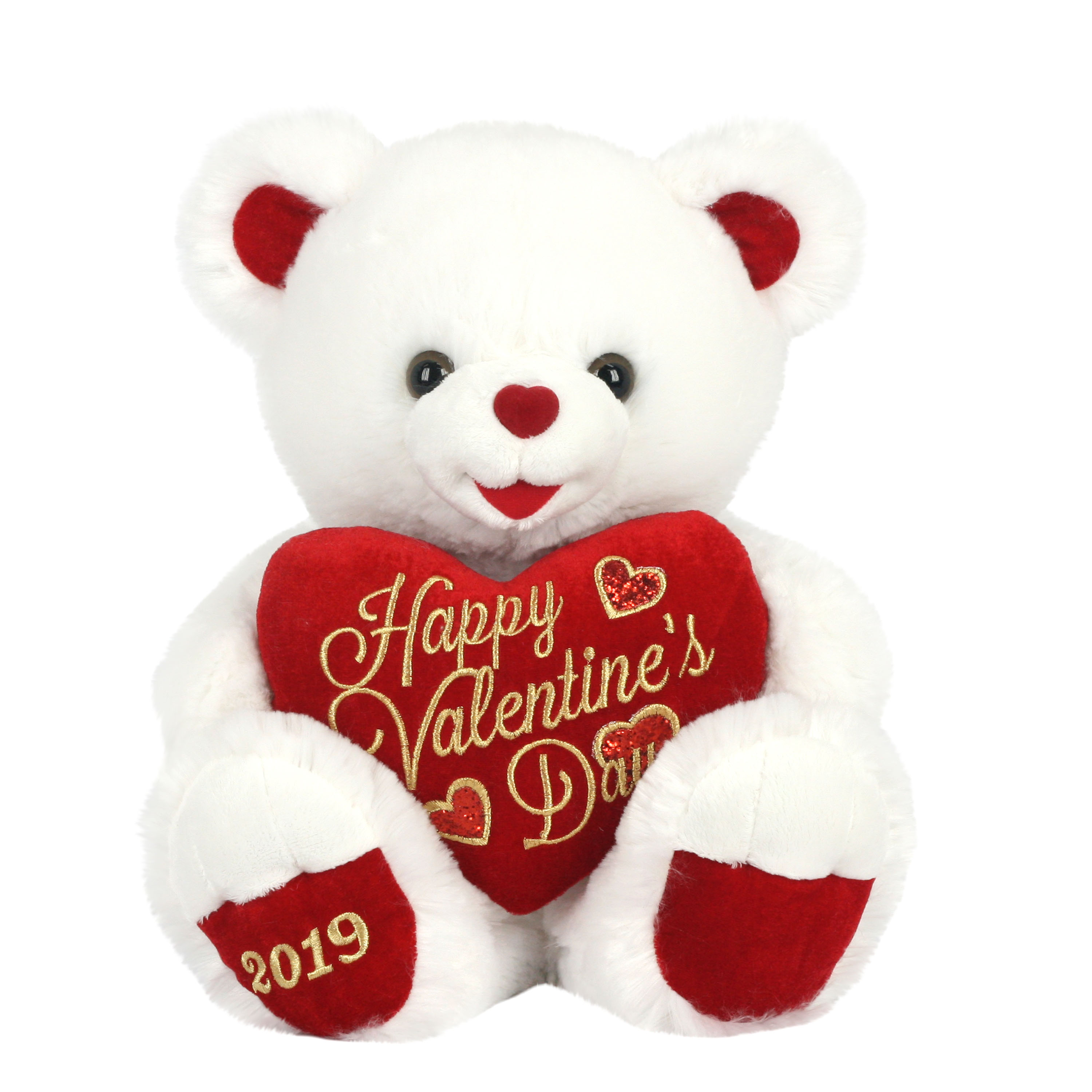 "Way To Celebrate 20"" Sweetheart Teddy 2019- White and Red"