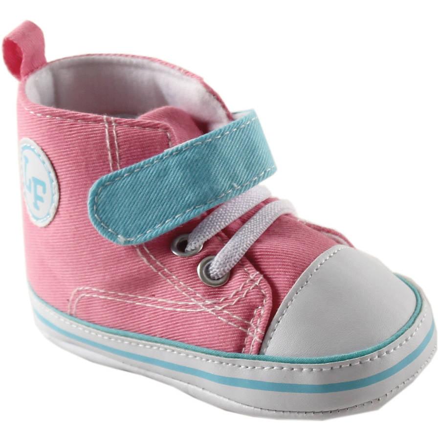 Luvable Friends Newborn Baby Girls Block Hi-Top Sneakers