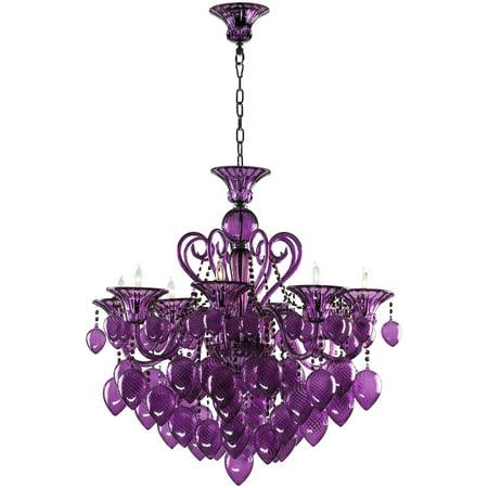 Chandelier Cyan Design Bella Vetro Murano Italian 8 Light Purple Gold Le Cy 1212