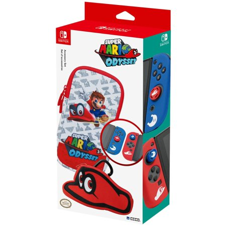 Hori super mario odyssey accessory set officially licensed for Housse nintendo switch mario