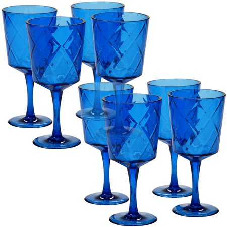 Cobalt Blue Set/8 Acrylic All Purpose Goblet 13 oz. (155 Grams) - Green Cocktail Glasses