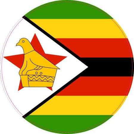Round Decal Vinyl Sticker (4x4 Round Zimbabwe Flag Sticker Vinyl Vehicle Decal Travel Hobby)