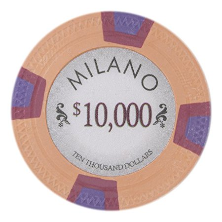 Claysmith Gaming Milano 10g Poker Chips, $10,000 Real Casino Clay, 50-pack