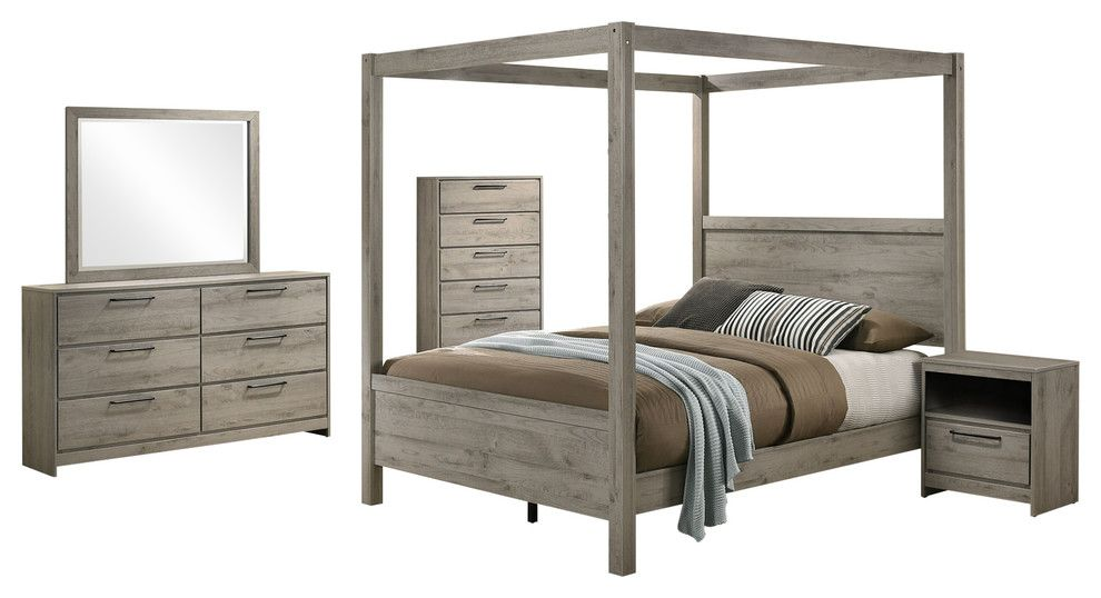 Charmant Manhattan 5 Piece Canopy Bedroom Set, Queen, Light Gray Wood, Modern  (Canopy Bed, Dresser, Mirror, Chest, 1 Nightstand)