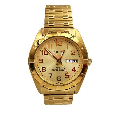 Pulsar Expansion Bracelet Steel Champagne Arabic Dial Quartz Watch (Champagne Arabic Dial)