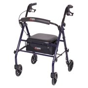 Carex Rollator Walker with Padded Seat, 6-inch Wheels, Cushioned Back Support, and Storage Pouch, Navy