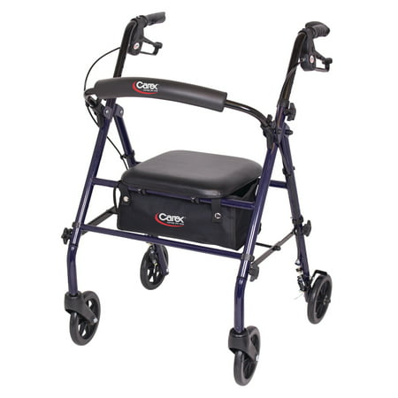 "Carex Rollator Walker with Padded Seat, 6"" Wheels, Cushioned Back Support, and Storage Pouch, -"
