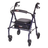 "Carex Rollator Walker with Padded Seat, 6"" Wheels, Cushioned Back Support, and Storage Pouch, Navy"
