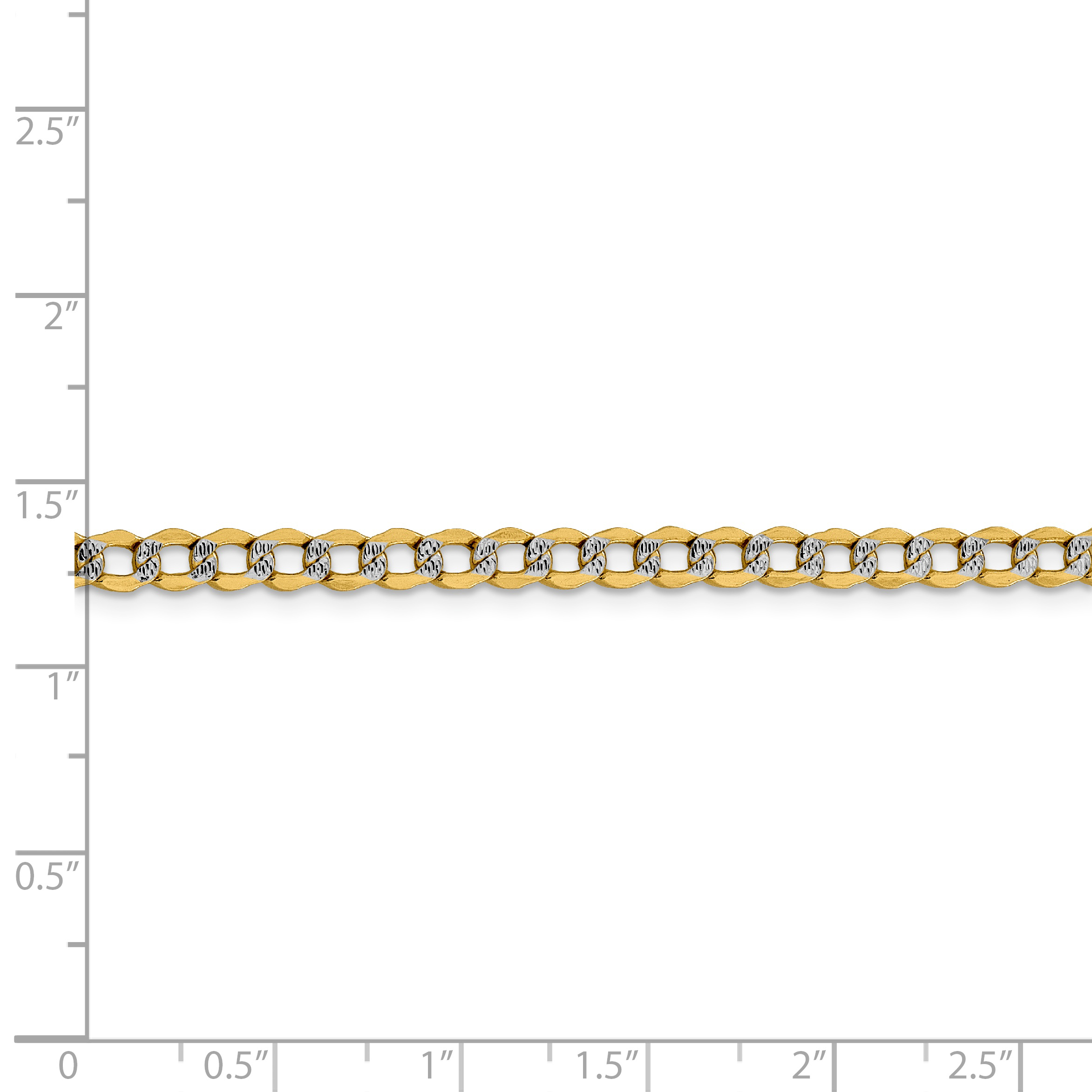14k Yellow Gold 4.3mm Link Curb Chain Necklace 20 Inch Pendant Charm Pav? Fine Jewelry Gifts For Women For Her - image 1 of 5