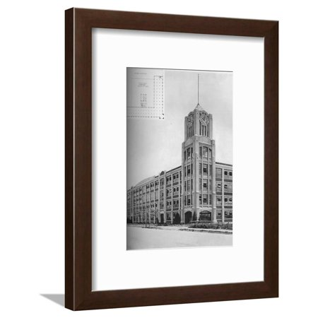 Detail of tower and typical floor plan, AM Creighton Building, Lynn, Massachusetts, 1923 Framed Print Wall (Details Plan)