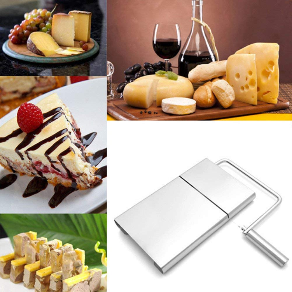 HK Cheese Slicer Cheese Cutter Wire Cutter w/5 Extra Stainless Steel Wires For Hard And Semi Hard Cheese Butter