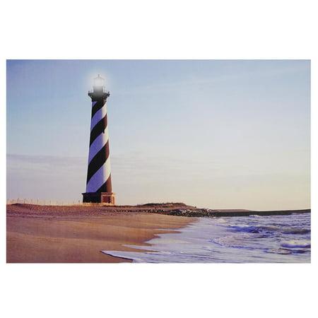 Beach Scene Lighthouse (LED Lighted Lighthouse Seaside Beach Scene Canvas Wall Art 15.75