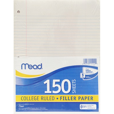 NOTEBOOK PAPER COLLEGE RULED 150CT SCBMEA15111-40 (pack of 40)