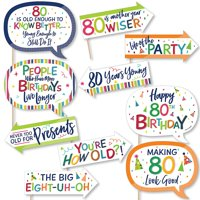 Funny 80th Birthday - Cheerful Happy Birthday - Colorful Eightieth Birthday Party Photo Booth Props Kit - 10 Piece