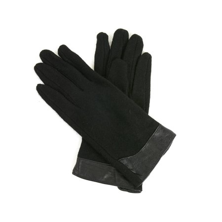 Xcr Womens Mitten - Womens Evening Gloves Leather Trim Touchscreen Texting Wool Mittens