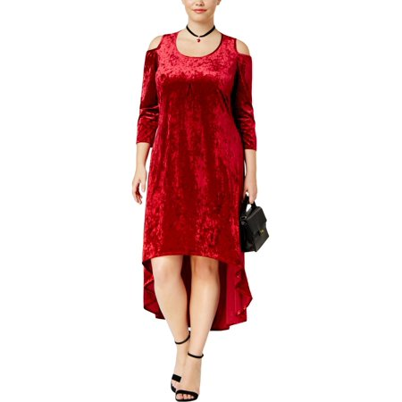 NY Collection Womens Plus Velvet Cold Shoulder Midi Dress (Plus Size Velvet Veil)