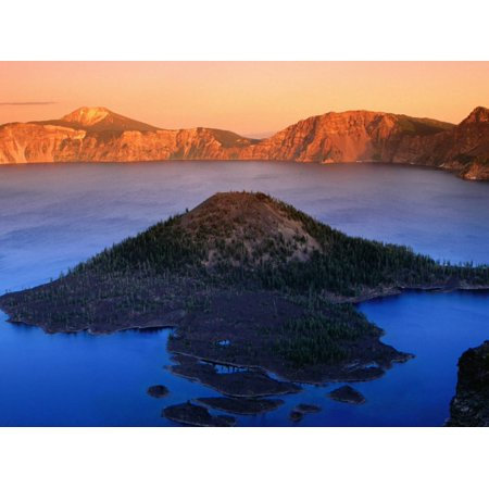 The Watchman and Wizard Island, Sunset, Crater Lake National Park, Oregon Print Wall Art By John Elk