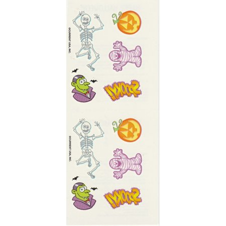 Halloween Icons Skeleton Vampire Mummy Jack-O-Lantern Temporary Tattoos, 10 Pc