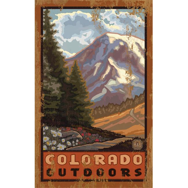 ArteHouse 0003-0497 Mountain View Planked Wood 14 x 23 Sign