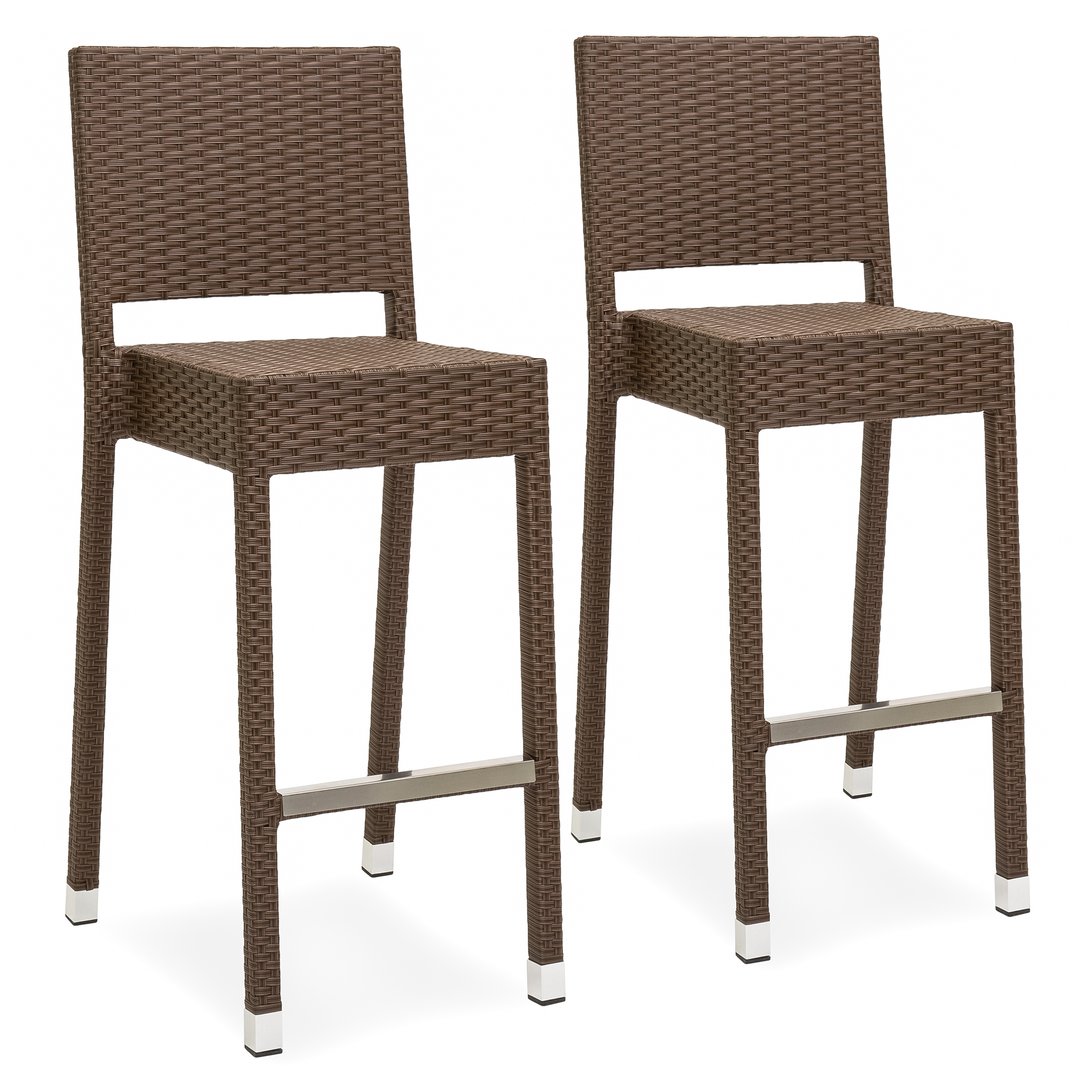 Best Choice Products Set of 2 Outdoor Wicker Bar Stools (Brown)