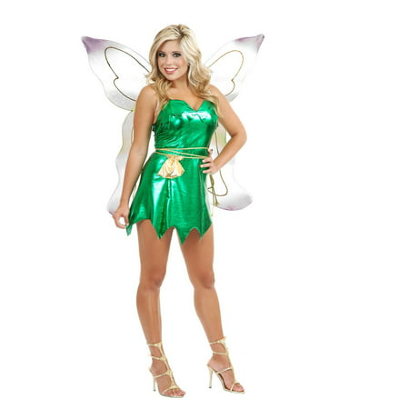 Halloween Emerald Fairy Adult Costume (Halloween Dead Fairy Makeup)