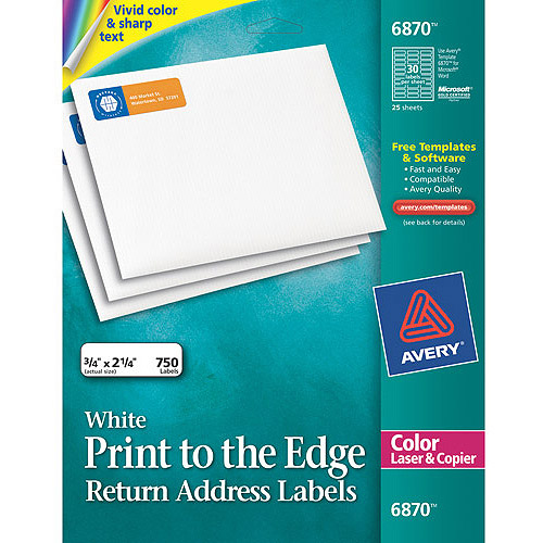 Avery Return Address Print-to-the-Edge Labels for Color Laser & Copier 6870, 3/4x2-1/4, Matte White, 750/Pack