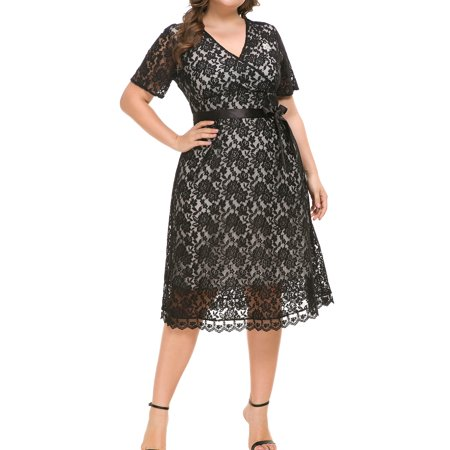 Plus Size Summer Women Vintage Lace Short Sleeve Waistband Cocktail Evening Party Swing Housewife Dress XL-5XL