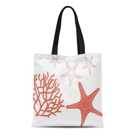 ASHLEIGH Canvas Tote Bag Nautical Coral Reef and Starfish Home Decorating Beach Wedding Reusable Handbag Shoulder Grocery Shopping Bags - Coral Tote Bag