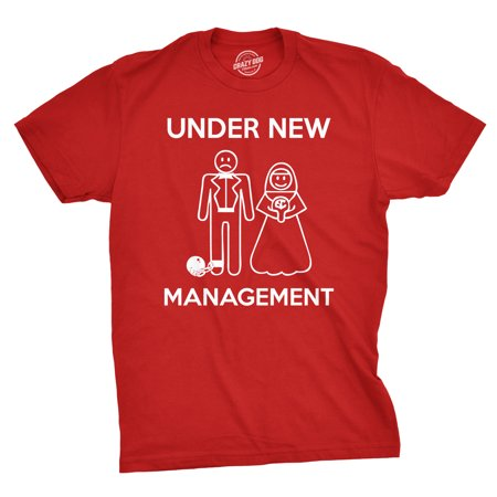 mens under new management funny wedding bachelor party novelty tee for guys - Bachelor Party Shirts