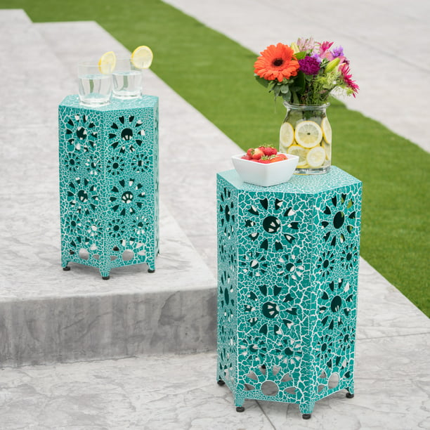 Marshall Outdoor 12 Inch and 14 Inch Sunburst Iron Side Table Set, Crackle Teal