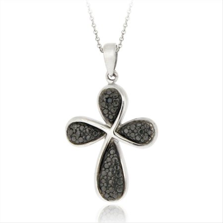 Black Diamond Accent Ribbon Cross - Diamond Ribbon Cross Necklace