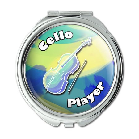 Cello Player Band Instrument String Compact Purse Mirror