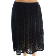 Bobeau NEW Deep Black Womens Medium M Crochet-Knit A-Line Skirt