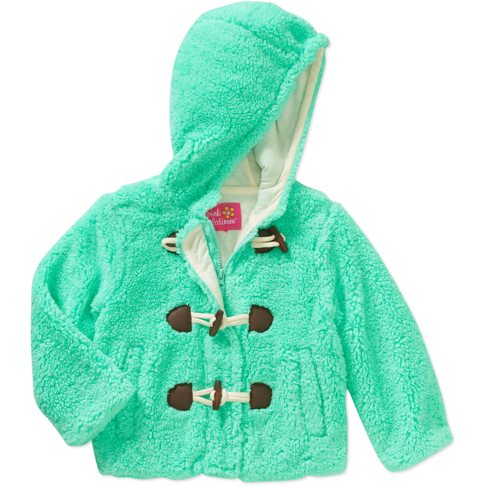 Pink Platinum Baby Toddler Girl Toggle Super Plush Sherpa Hooded Jacket
