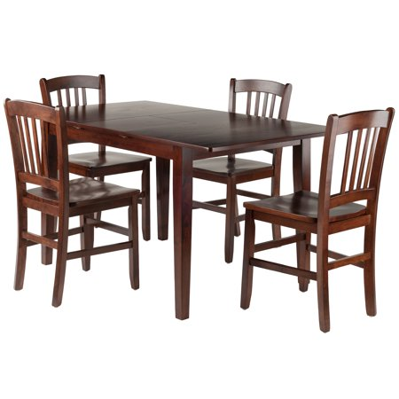 Winsome Wood Anna 5 Pc Dining Table W Slat Back Chairs Set Walnut