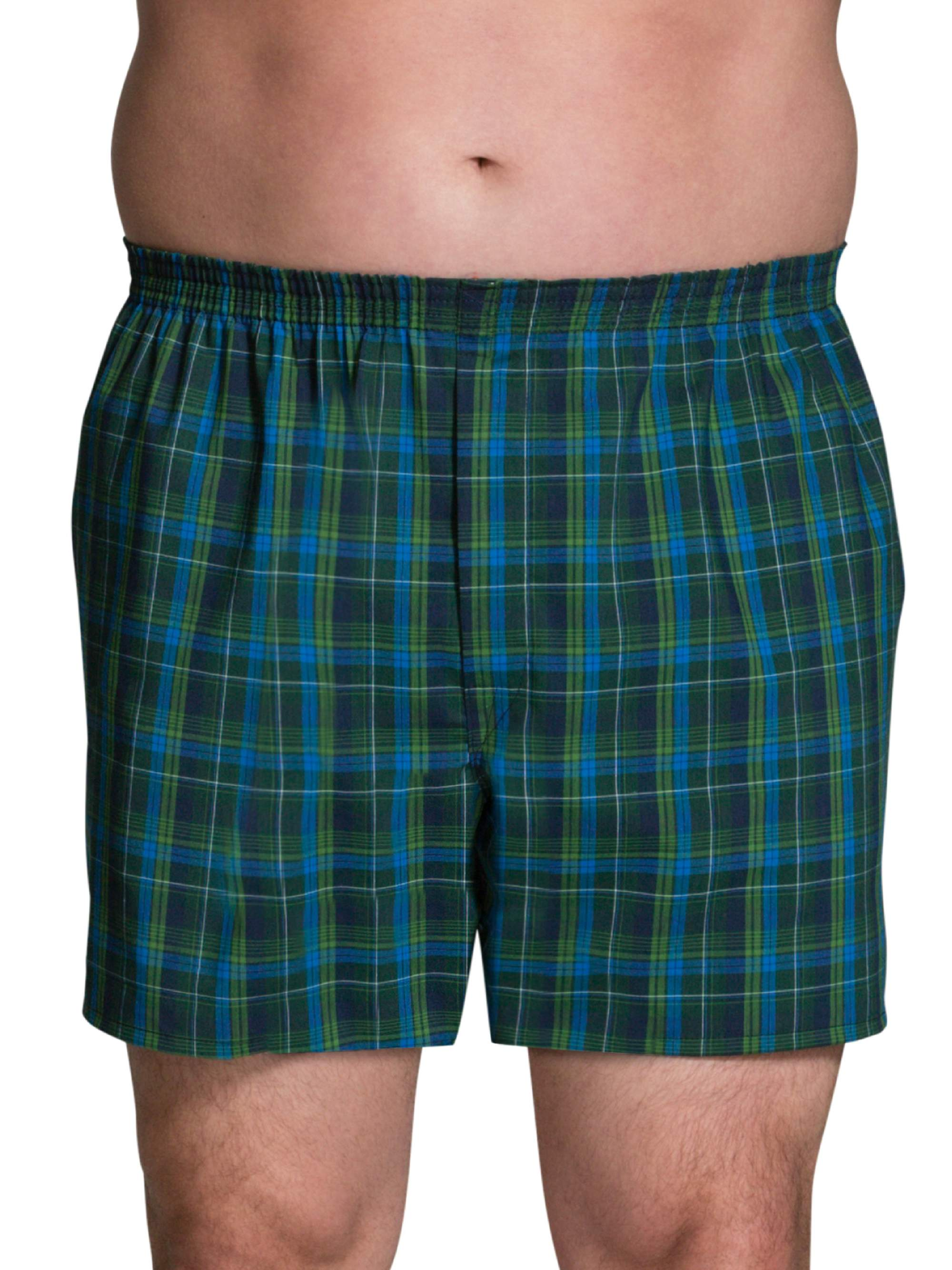 Men's Dual Defense Woven Tartan Plaid Boxers, Extended Sizes, 4 Pack