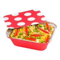 """12 oz Rectangle Red Aluminum Take Out Container - with Polka Dot Paper Lid - 5 3/4"""" x 4 3/4"""" x 1 3/4"""" - 200 count box"""