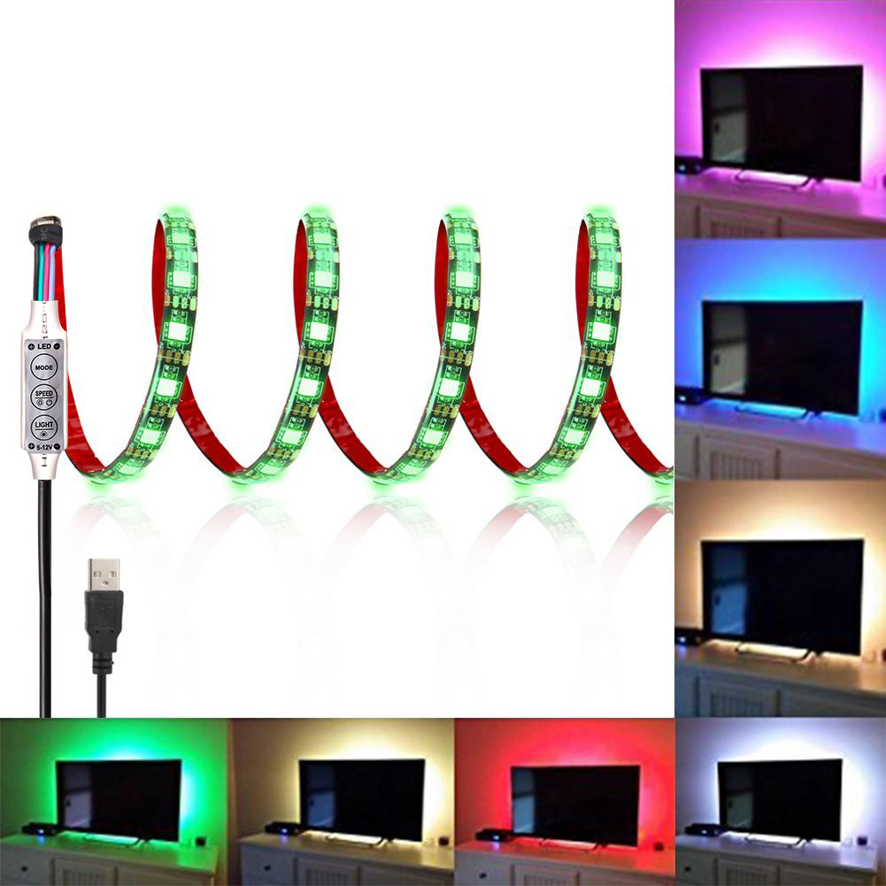 LED TV Strip Light,Flexible 5050 RGB LED Background Lighting Kit with USB Cable and Mini Controller for TV/PC Monitor,2M 120LEDs