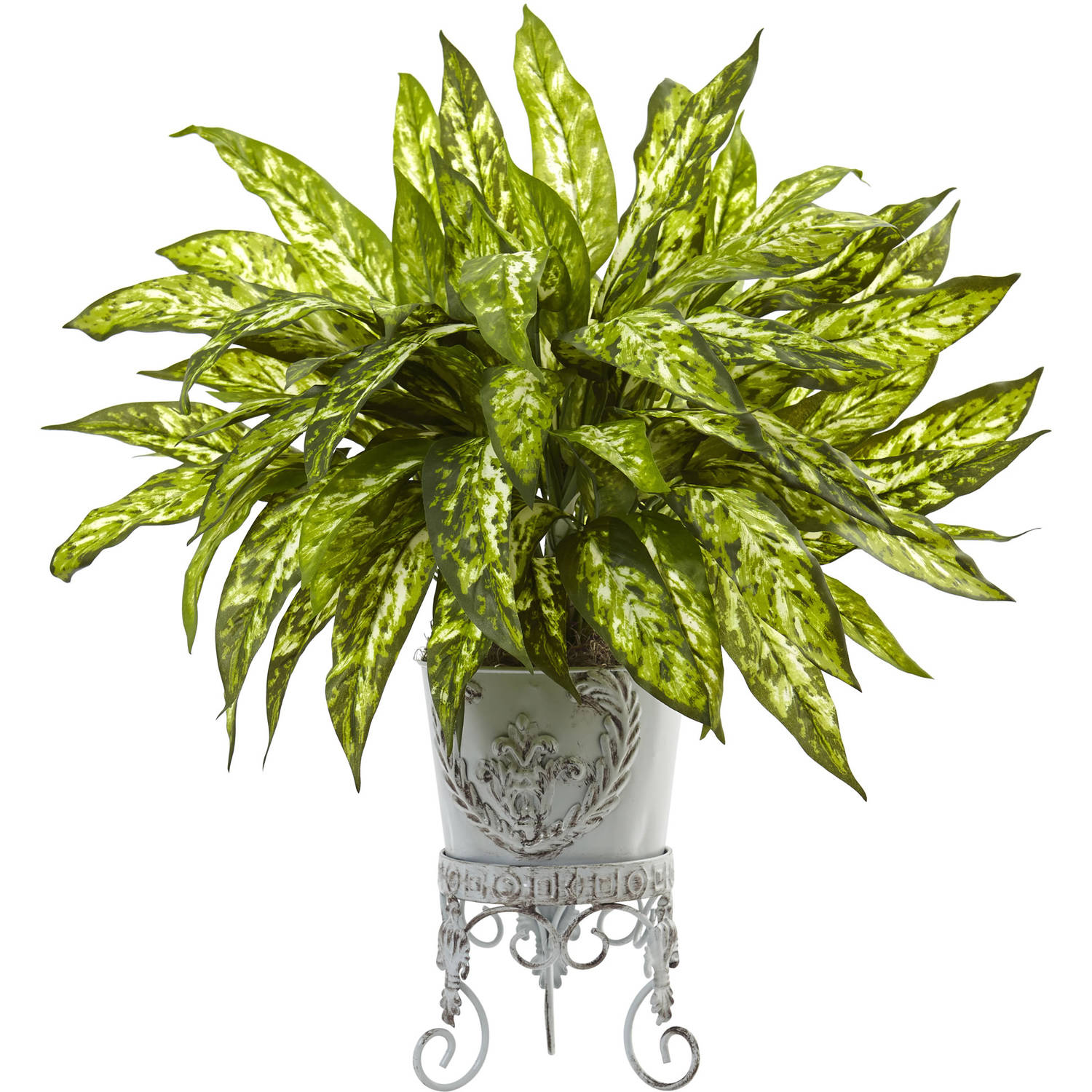 Nearly Natural Aglaonema with Metal Planter