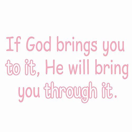 "VWAQ If God Brings You To It, He Will Bring You Through It Wall Decal VWAQ-1654 (22""W X 12""H, Pink)"