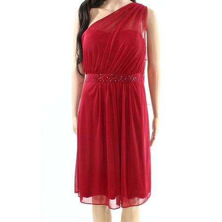 Adrianna Papell NEW Red Womens Size 10 Chiffon Embellished Sheath Dress