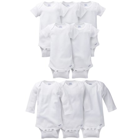 Gerber Short Sleeve and Long Sleeve White Onesies Bodysuit Bundle, 8pc (Baby Boys or Baby Girls, Unisex) (Glitter Onesie)