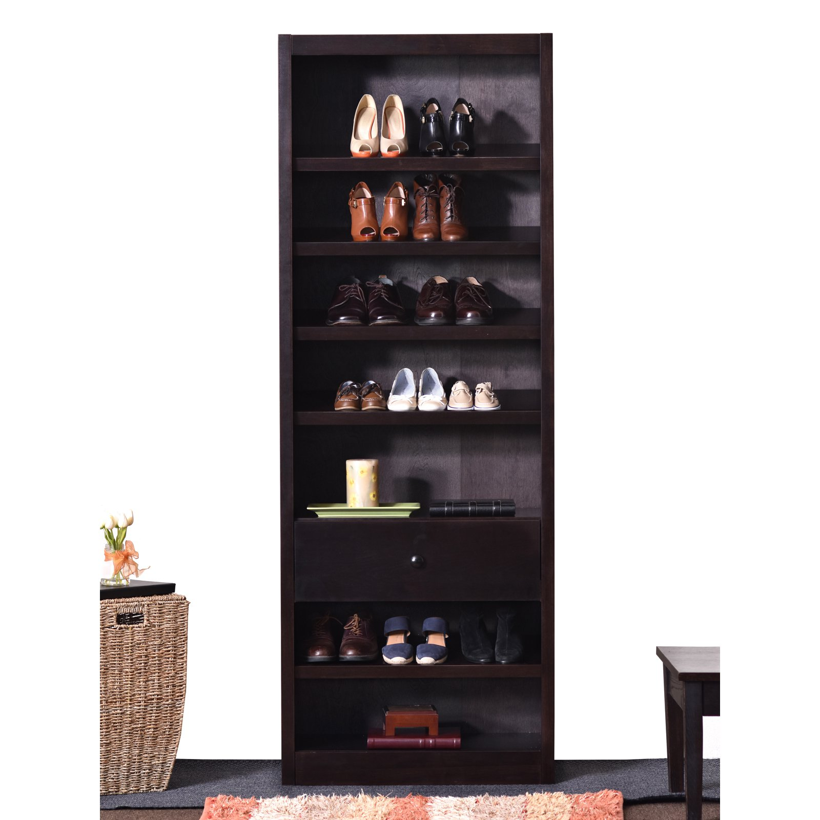 Concepts in Wood 84 in. Shoe Rack with Drawer