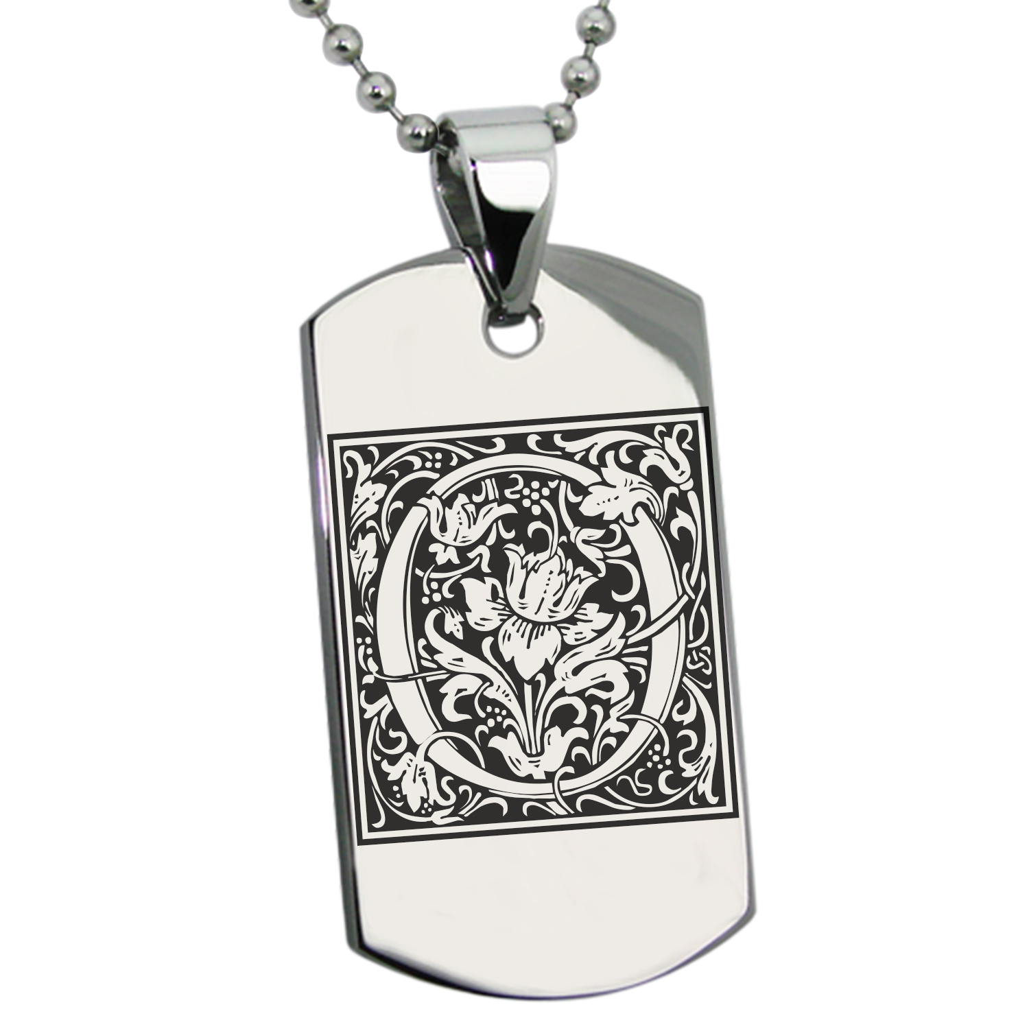 Stainless Steel Letter O Initial Floral Monogram Engraved Dog Tag Pendant