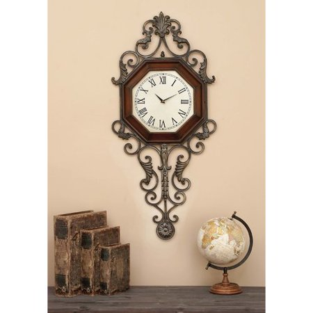 Decmode Wood and Metal Wall Clock, Brown