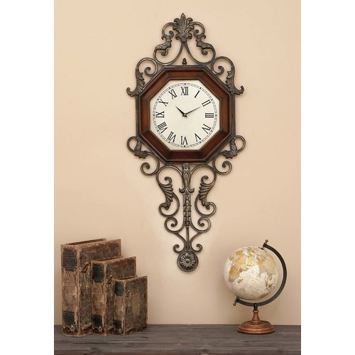 Decmode Wood and Metal Wall Clock, Brown