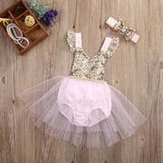 Sequins Newborn Baby Kids Girls Tulle Tutu Floral Dress Backless Party Dresses